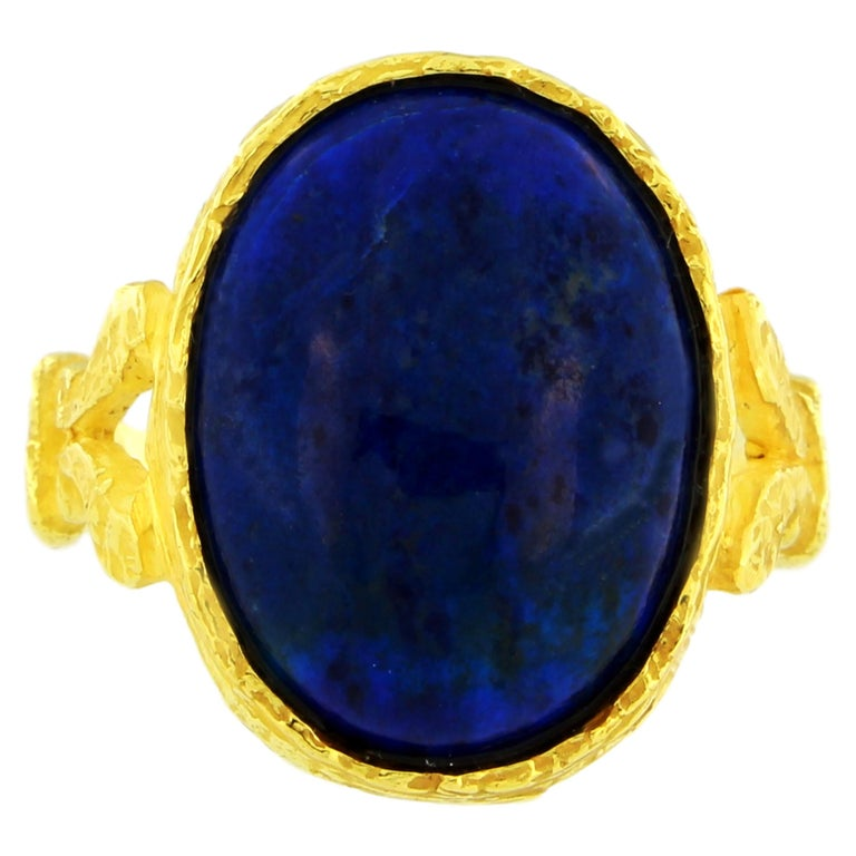 Lapis Lazuli Roman Style Ring in Satin Yellow Gold, from Sacchi's