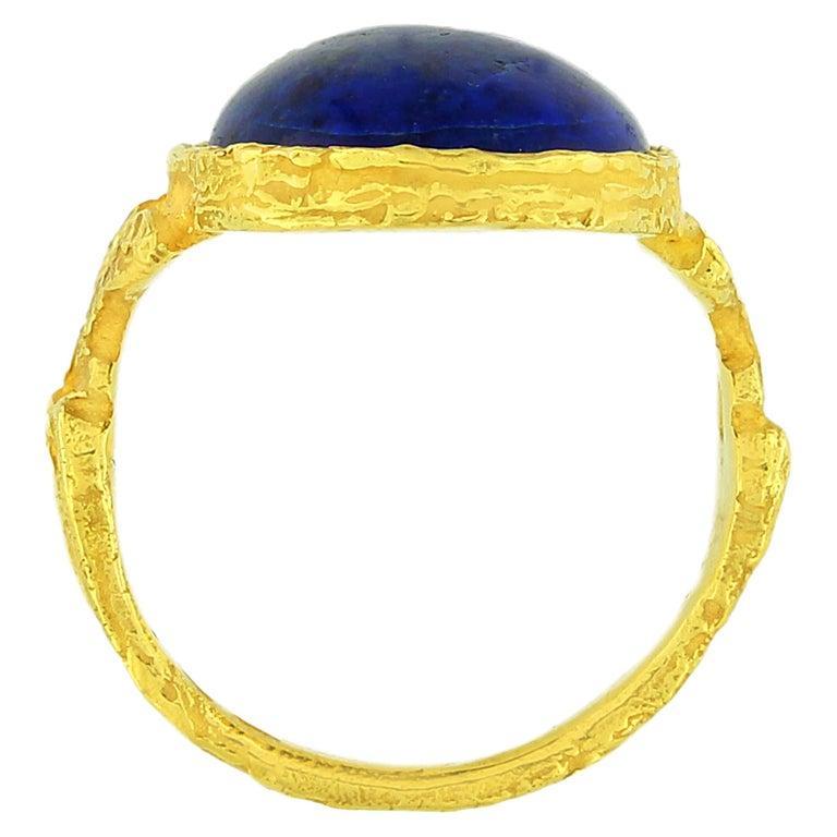 Oval Cut Sacchi Lapis Lazuli Roman Style Ring 18 Karat Satin Yellow Gold For Sale