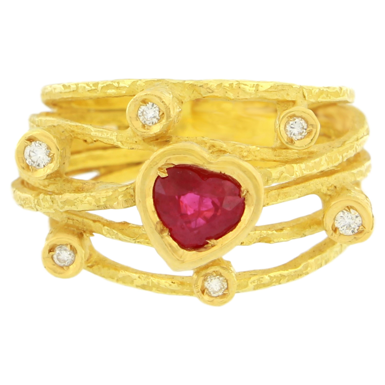 Sacchi Large Heart Ruby and Diamonds Gemstone 18 Karat Yellow Gold Cocktail Ring