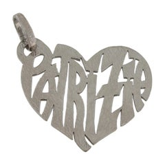 Sacchi Large Heart With Names 18 Karat Yellow White Rose or Black Gold Pendant
