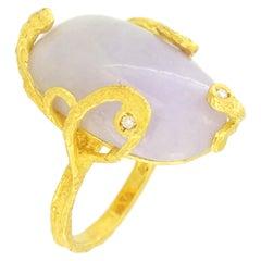 Sacchi Lavender Jade Gemstone 18 Karat Satin Yellow Gold Cocktail Ring