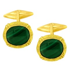 Sacchi Malachite Gemstone 18 Karat Satin Yellow Gold Oval Cufflinks
