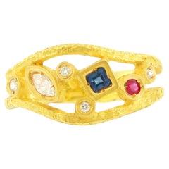 Sacchi Multi-Color Precious Gemstones 18 Karat Satin Yellow Gold Cocktail Ring