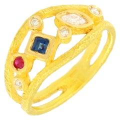Sacchi Multi-Color Precious Gemstones 18 Karat Yellow Gold Cocktail Ring