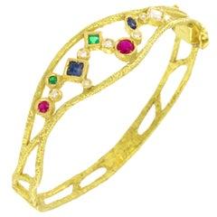 Sacchi Multi-Color Precious Gemstones 18 Karat Yellow Gold Cuff Bracelet