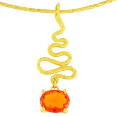 Sacchi Oval Cut Fire Opal Gemstone 18 Karat Satin Yellow Gold Pendant Necklace