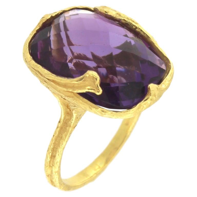 Sacchi Purple Amethyst Gemstone 18 Karat Satin Yellow Gold Cocktail Ring 2