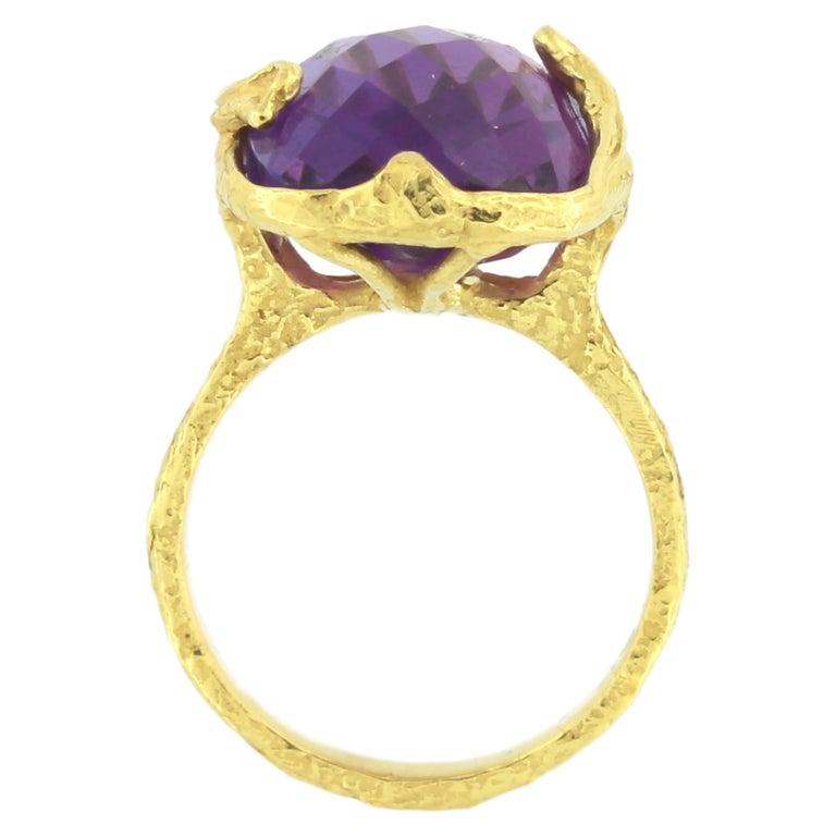Sacchi Purple Amethyst Gemstone 18 Karat Satin Yellow Gold Cocktail Ring 3