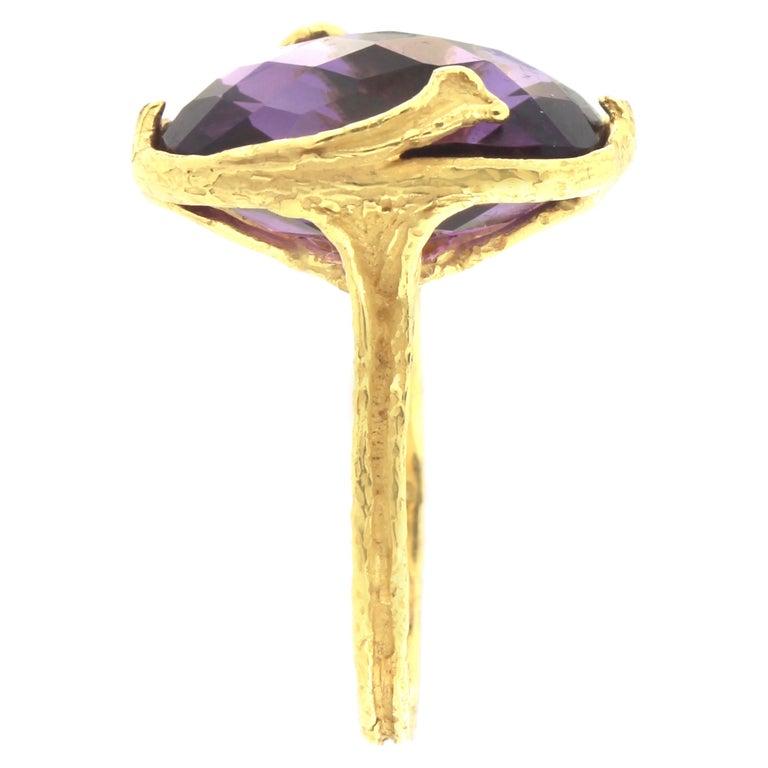 Sacchi Purple Amethyst Gemstone 18 Karat Satin Yellow Gold Cocktail Ring 4