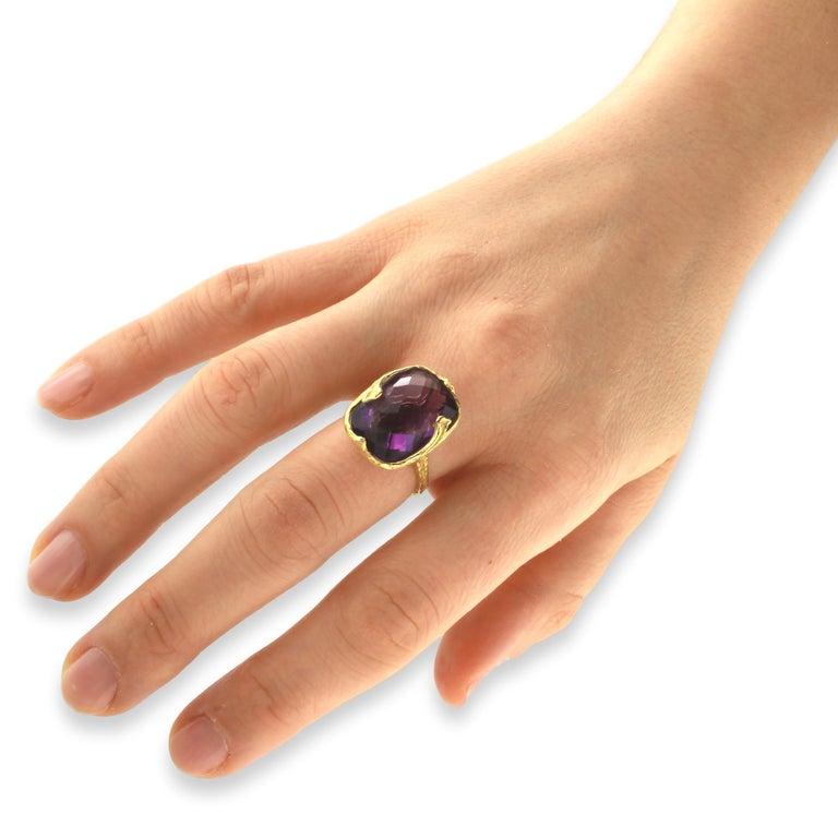 Sacchi Purple Amethyst Gemstone 18 Karat Satin Yellow Gold Cocktail Ring 5