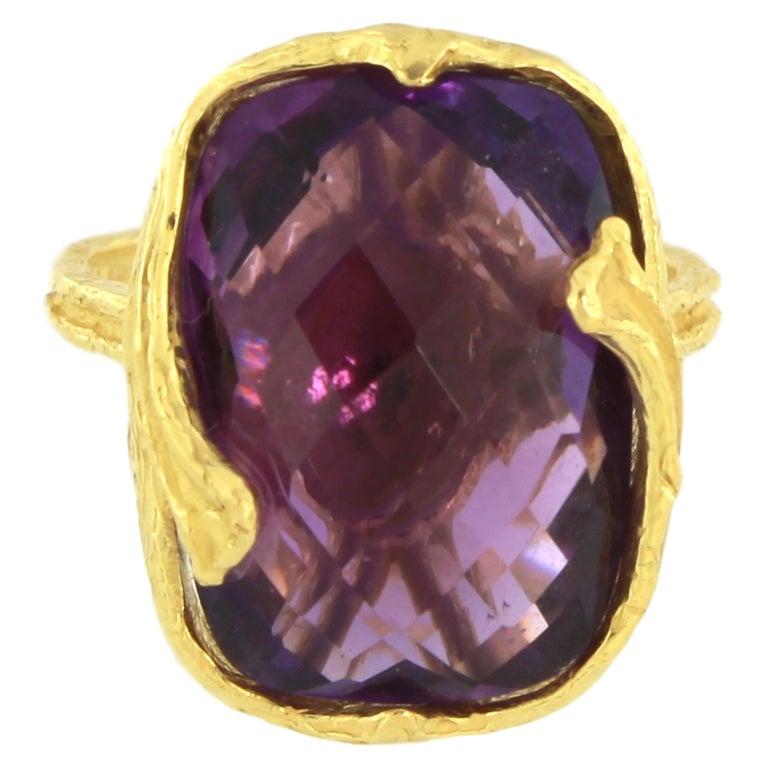 Sacchi Purple Amethyst Gemstone 18 Karat Satin Yellow Gold Cocktail Ring 1