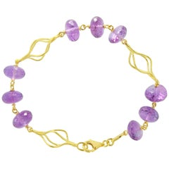 Sacchi Purple Amethyst Gemstone 18 Karat Satin Yellow Gold Fashion Bracelet