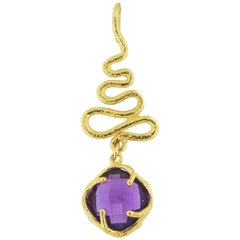 Sacchi Purple Amethyst Gemstone Pendant 18 Karat Satin Yellow Gold