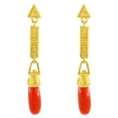 Sacchi Red Coral Gemstone Dangle Earrings 18 Karat Satin Yellow Gold