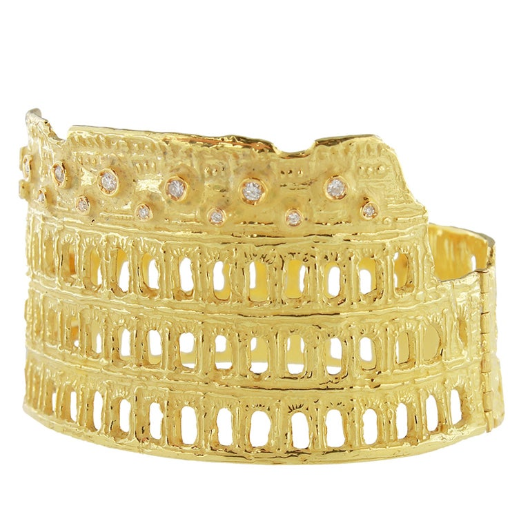 Unique Roman Colosseum Satin Yellow Gold and Diamonds Cuff Bracelet, from Sacchi's Rome Collection, hand-crafted with lost-wax casting technique.  Lost-wax casting, one of the oldest techniques for creating jewelry, forms the basis of Sacchi's
