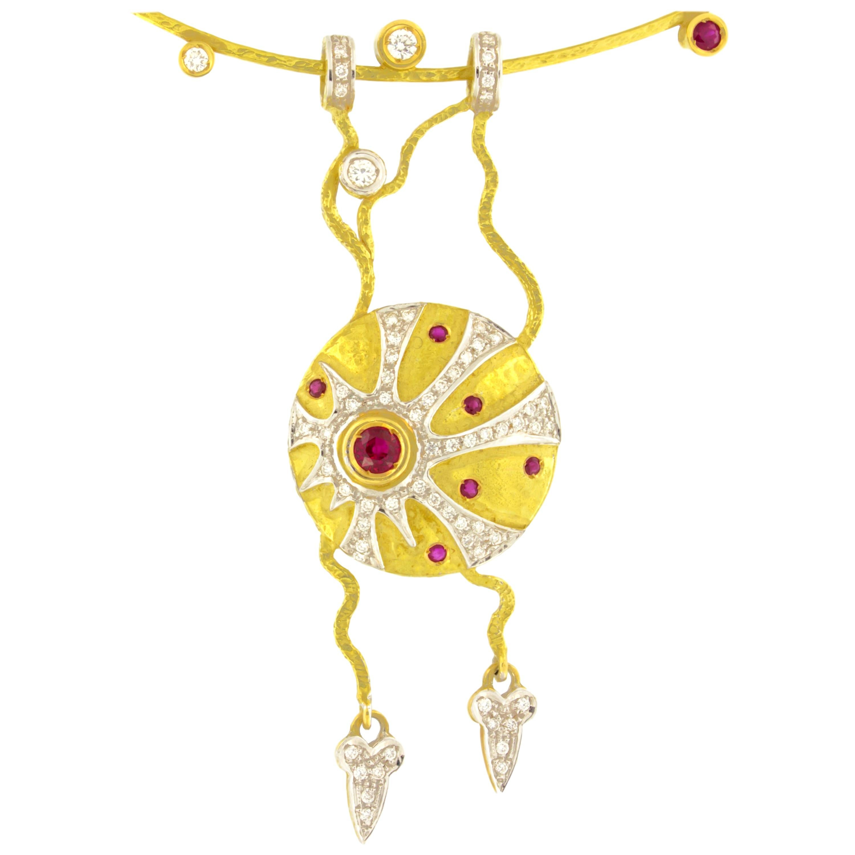 Sacchi Ruby and Diamonds Gemstone 18 Karat Yellow Gold Pendant Necklace