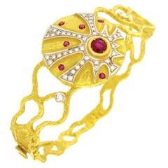 Sacchi Ruby Diamonds Gemstone 18 Karat Yellow and White Gold Cuff Bracelet