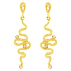 "Sacchi ""Serpenti"" Drop Earrings Diamond Gemstone 18 Karat Satin Yellow Gold"