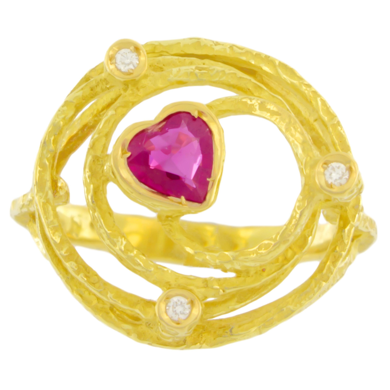Sacchi Small Heart Ruby and Diamonds Gemstone 18 Karat Yellow Gold Cocktail Ring
