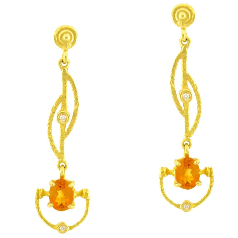 Sacchi Topaz and Diamonds Gemstone 18 Karat Yellow Gold Drop Earrings For Sale