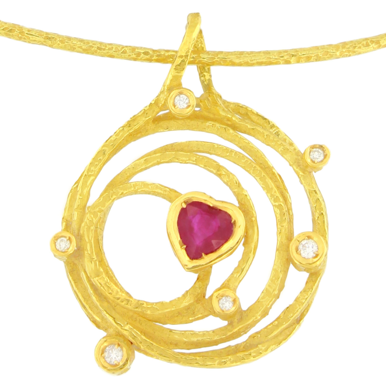 "Sacchi ""Universe"" Heart Ruby and Diamonds Gemstones 18 Karat Yellow Gold Pendant"