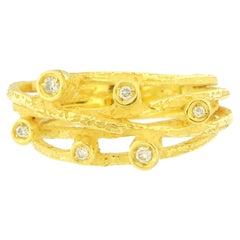 Sacchi Draht Diamanten Ring 18 Karat Satin Gelbgold