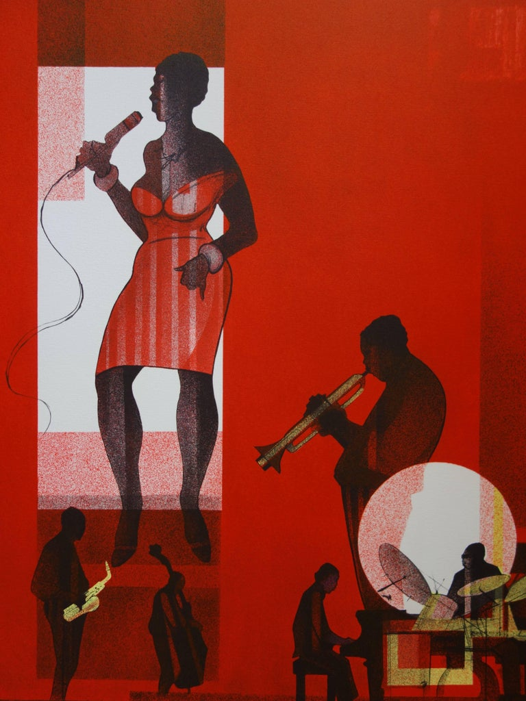 Jazz : Hot Swing- Original handsigned lithograph - Limited /275 - Modern Print by Sacha Chimkevitch