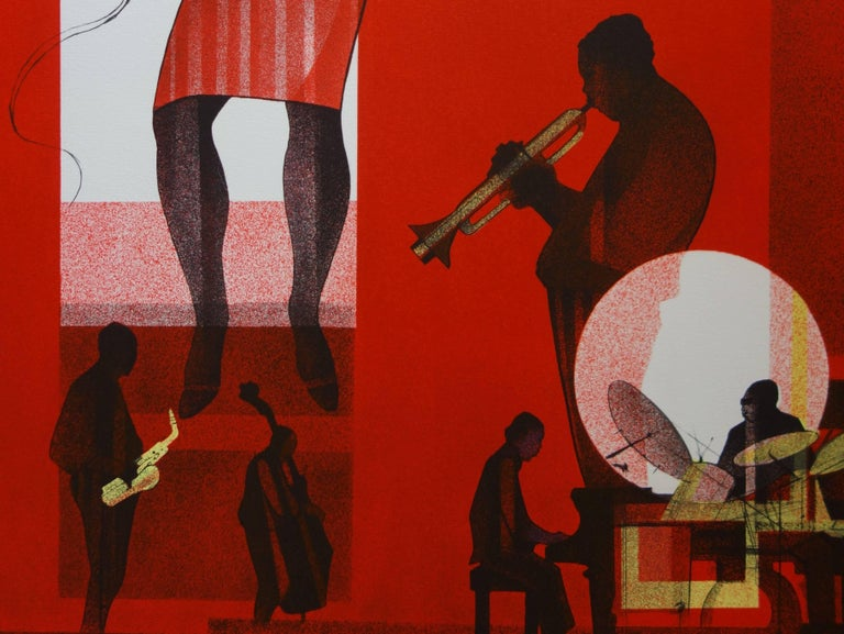 Jazz : Hot Swing- Original handsigned lithograph - Limited /275 - Red Figurative Print by Sacha Chimkevitch