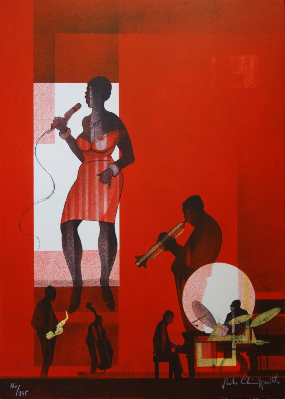 Sacha Chimkevitch Figurative Print - Jazz : Hot Swing- Original handsigned lithograph - Limited /275