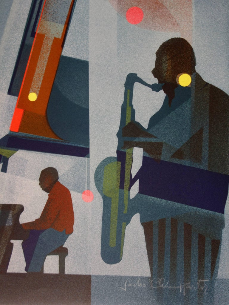 New Orleans : Jazz Band - Original handsigned lithograph - 275ex - Gray Figurative Print by Sacha Chimkevitch