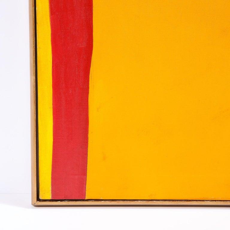 Untitled (Acrylic on Canvas) - Orange Abstract Painting by Sacha Kolin