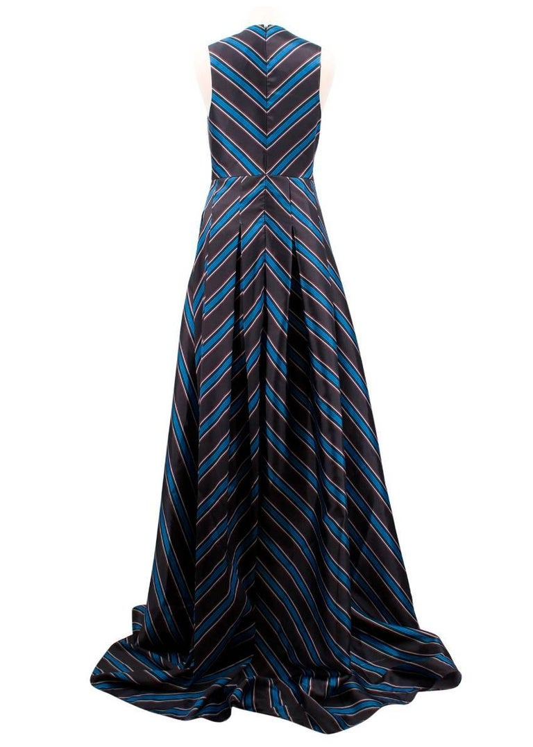 Sachin & Babi Amrita Pleated Striped Satin-Twill Gown  - Gown - Black & blue in colour with white and red stripes - Twill - Satin - Pleated - Darted bust - Side slit pocket - Concealed hook and zip fastening along back - Fully lined - Non-stretchy