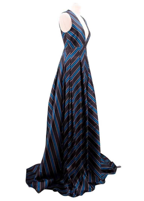 Black Sachin & Babi Striped Satin-Twill Gown -Estimated UK Size Small