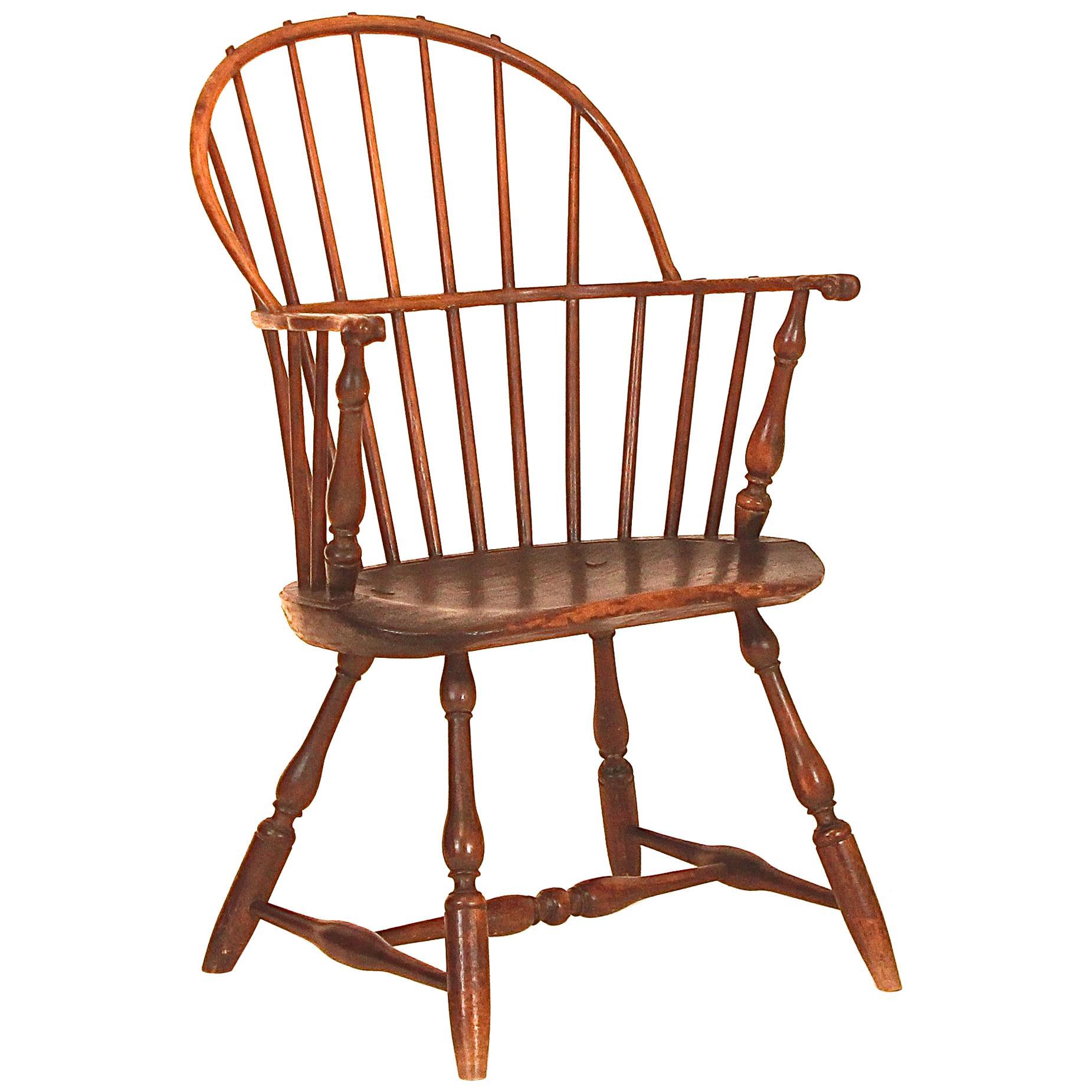 Rare Maple Low Back Windsor Armchair, Rhode Island, Circa 1760