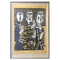 "Sadao Watanabe Limited Edition Japanese Print ""Three Fishermen 'The Disciples'"""