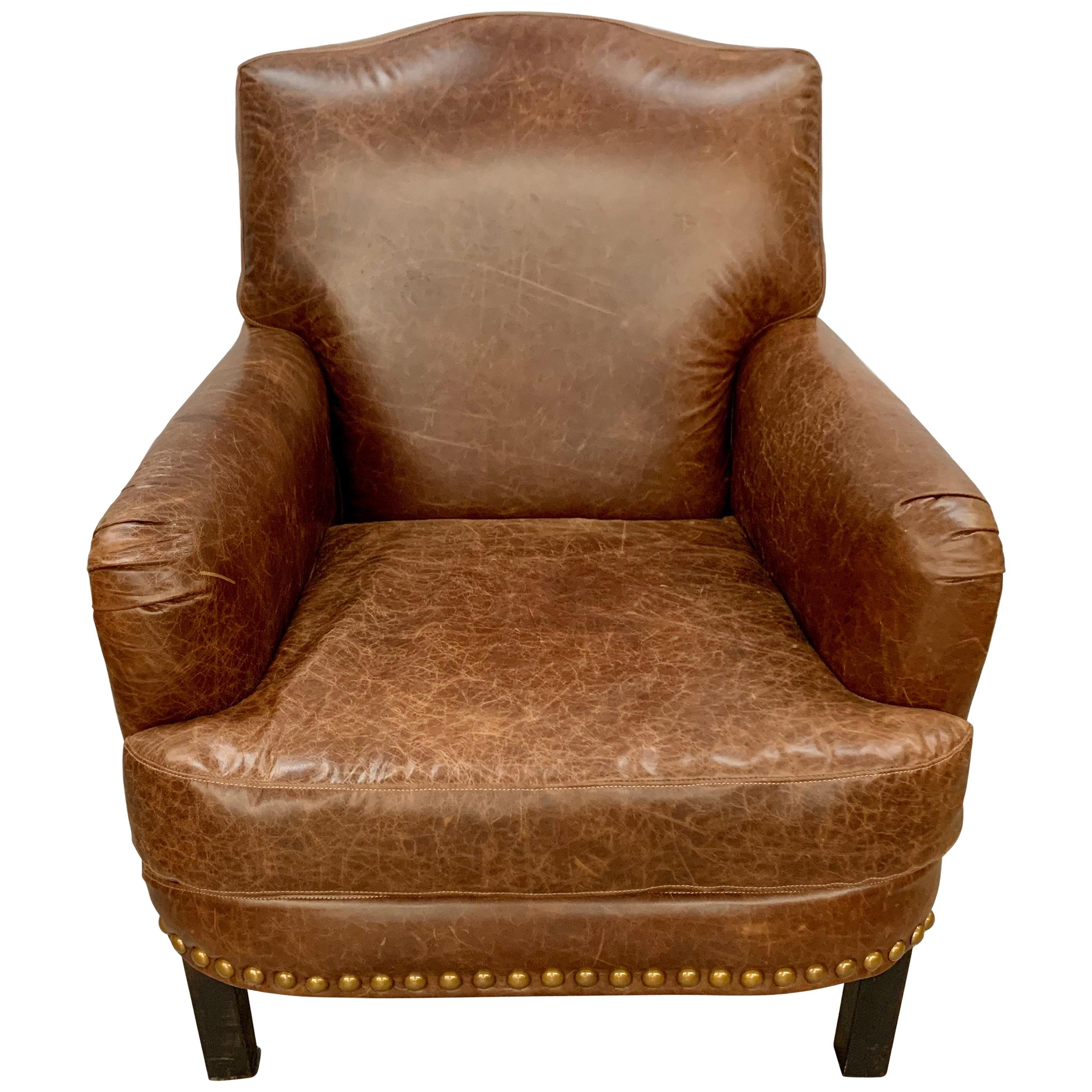 Saddle Brown Leather Nailhead Armchair Club