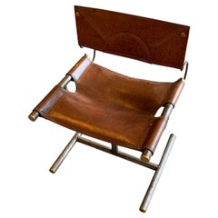 Saddle Color Leather, Steel and Brass Detailed Chair, France, Midcentury