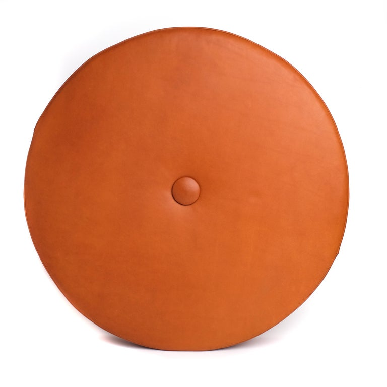 Saddle Color Leather Drum Stacking Cushion by Moses Nadel For Sale 1