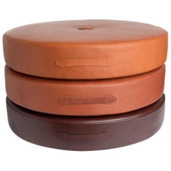 Saddle Color Leather Drum Stacking Cushion by Moses Nadel