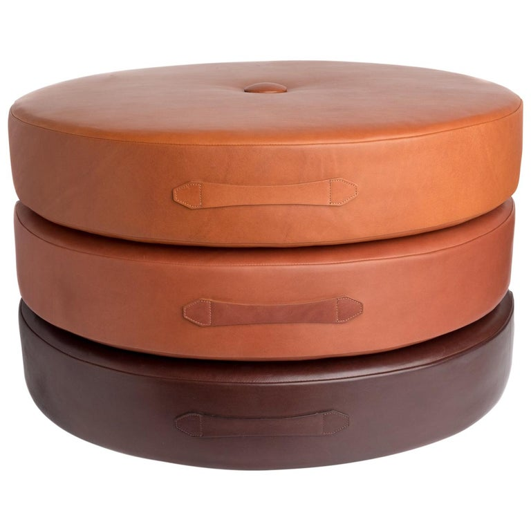 Saddle Color Leather Drum Stacking Cushion by Moses Nadel For Sale
