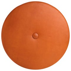 Saddle Color Leather Drum Stacking Floor Cushion by Moses Nadel