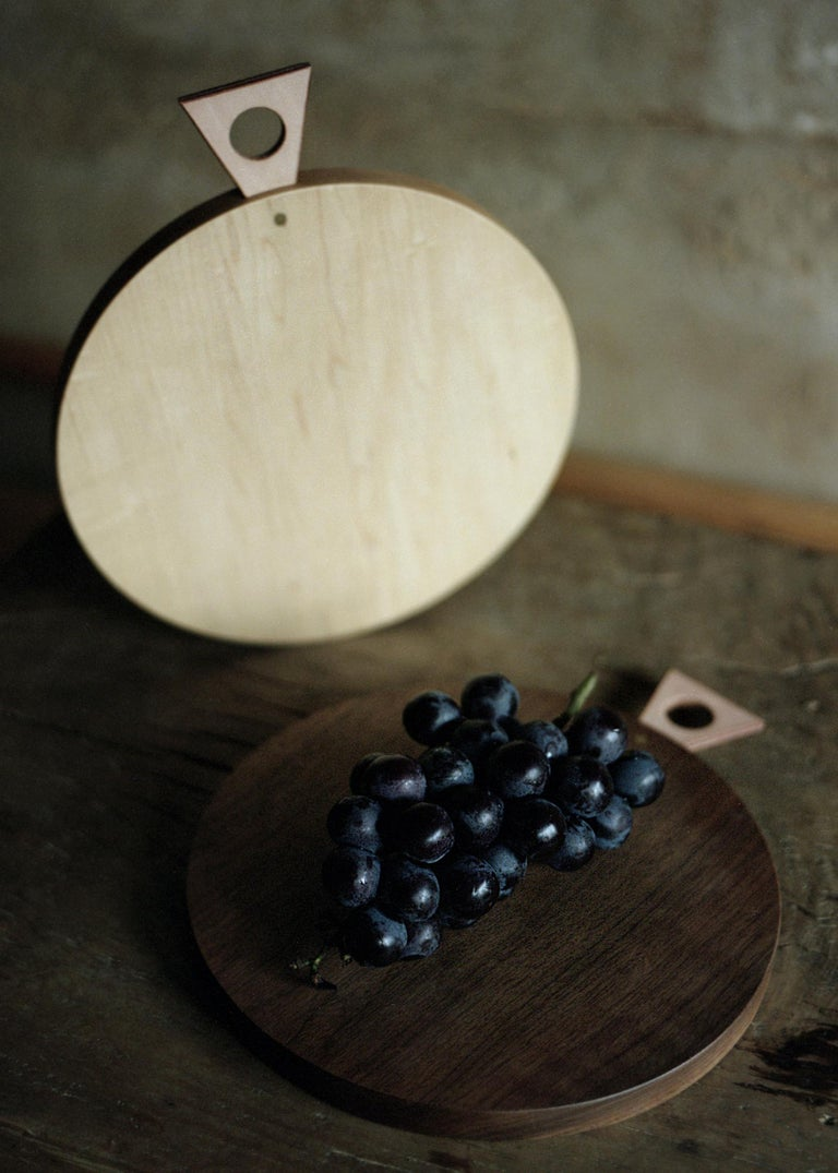 American Saddle Cutting/ Serving Board Round in Maple by Bowen Liu- In Stock For Sale