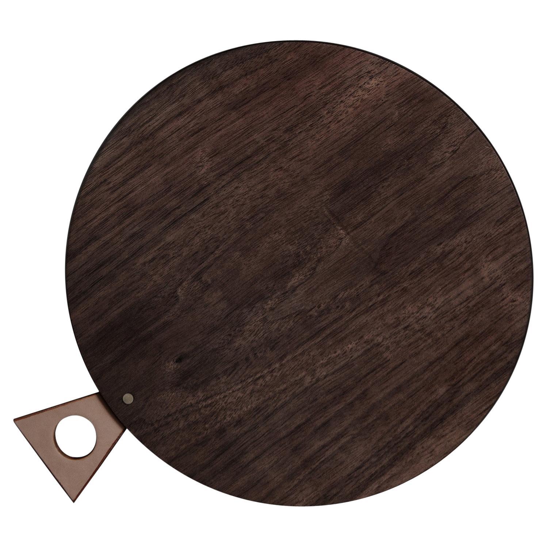 Saddle Cutting/ Serving Board Round in Walnut by Bowen Liu- In Stock