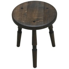 Saddle, Handmade Oxidized Oak Stool with Textured Legs and a Carved Seat
