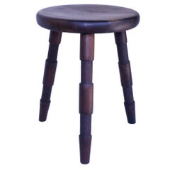 Saddle, Handmade Wood Stool With Textured Legs and a Carved Seat