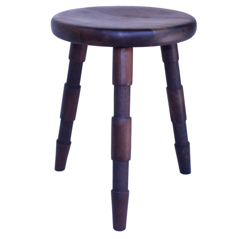 Saddle Handmade Wood Stool With Textured Legs And A