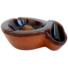 Saddle Leather and Ceramic Ashtray by Longchamp