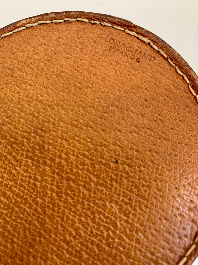 Mid-20th Century Saddle Leather and Ceramic Catchall / Ashtray by Longchamp For Sale