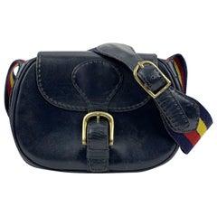 Saddlers Union Vintage Navy Blue Leather Flap Saddle Shoulder Bag