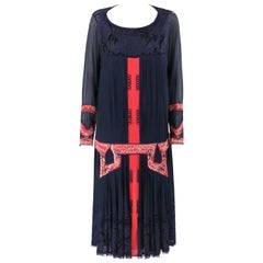 SADIE NEMSER c.1920's Art Deco Silk Beaded Cubist Flapper Couture Dress